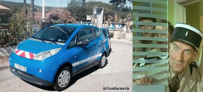 Les gendarmes de Saint Tropez en voiture électrique