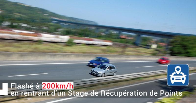 200km/h exces de vitesse après un stage récupération de points