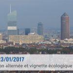 Circulation alternée à Lyon et Villeurbanne le Lundi 23 janvier 2017
