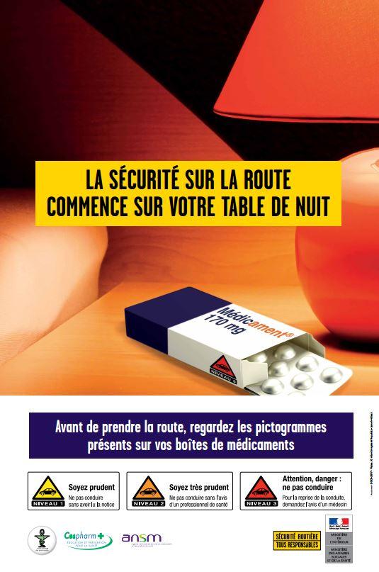 Affiche sécurité routière médicament en pharmacie