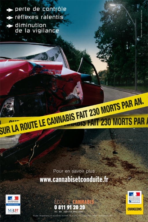 le cannabis au volant et les accidents