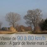 Abaissement de la limitation de vitesse de 90 à 80km/h