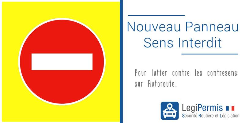Nouveau panneau sens interdit jaune fluo