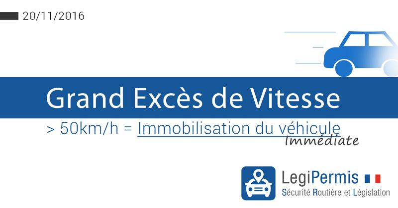 Grand excès de vitesse et immobilisation du véhicule au 20/11/2016