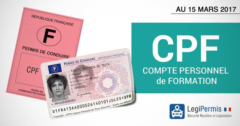 Payer son permis avec le CPF dés le 15 mars