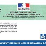 Avis de contravention pour non désignation de conducteur