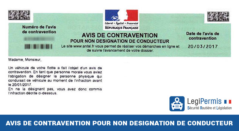 Avis De Contravention Pour Non Designation De Conducteur Legipermis
