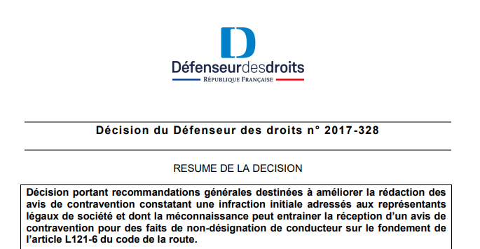 Avis De Contravention Pour Non Designation De Conducteur Legipermis
