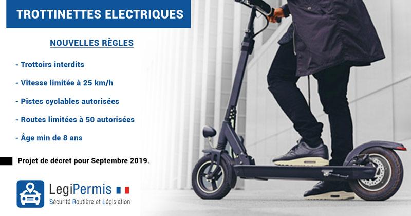 Trottinette électrique interdite sur les trottoirs et vitesse max de 25 km/h : amendes et décret de septembre 2019
