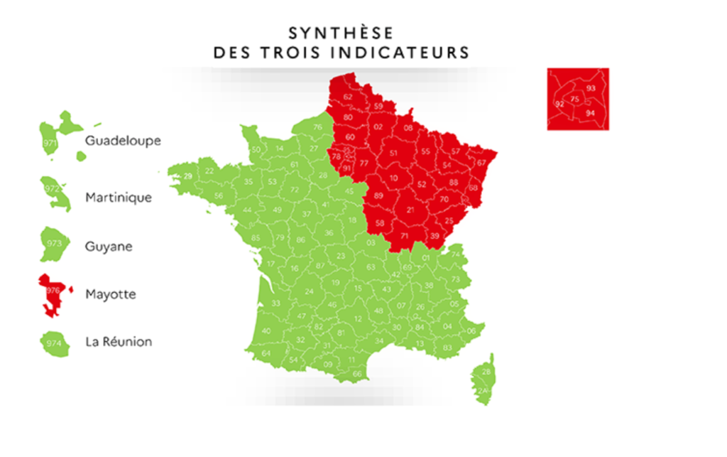 Carte de France du déconfinement par couleur vert et rouge en fonction de l'évolution de l'épidémie du Covid au 7 mai 2020.