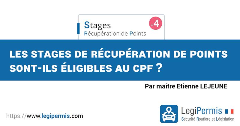 Les stages de récupération de points sont-ils éligibles au CPF ?