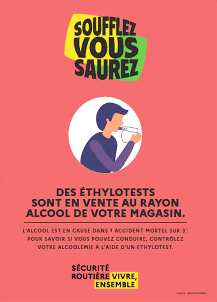 Affiche obligatoire à partir du 1er juillet 2021 dans les magasins vendant de l'alcool avec la vente obligatoire d'éthylotests