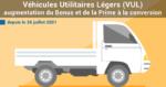 hausse du bonus écologique et de la prime à la conversion pour les véhicules utilitaires légers (VUL)