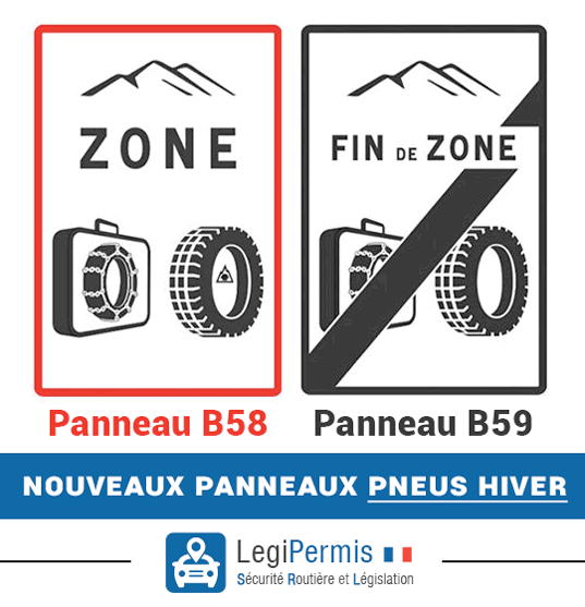 Panneaux zone pneus hiver ou chaînes obligatoires du 1er novembre au 31 mars. Panneau B58 et B59.