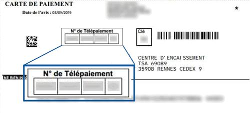 Carte de paiement amende avec le numéro de télépaiement