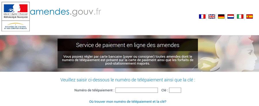 Site officiel du gouvernement amendes.gouv.fr pour payer ses amendes en lignes