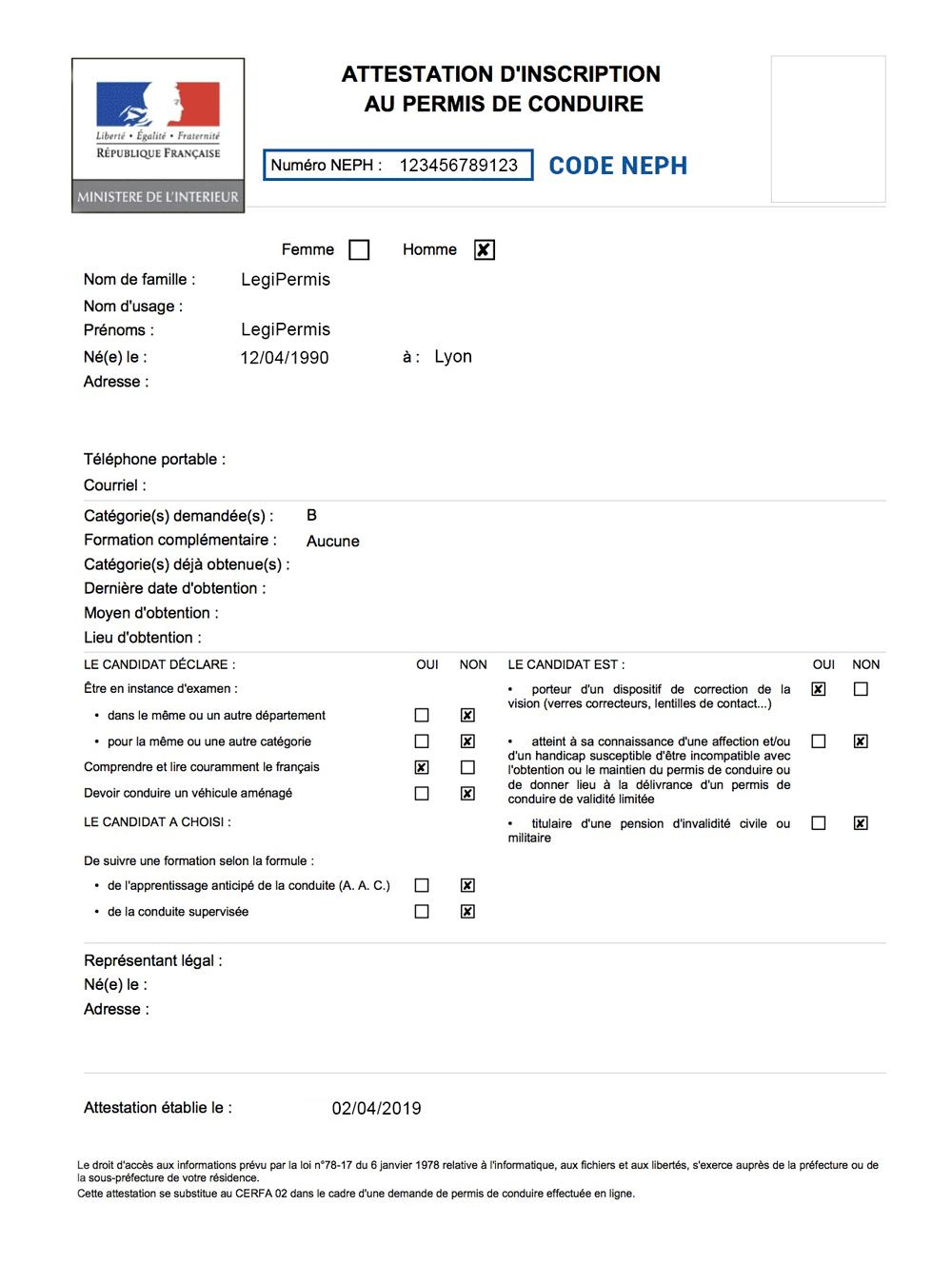attestation d'inscription au permis de conduire avec le Code NEPH