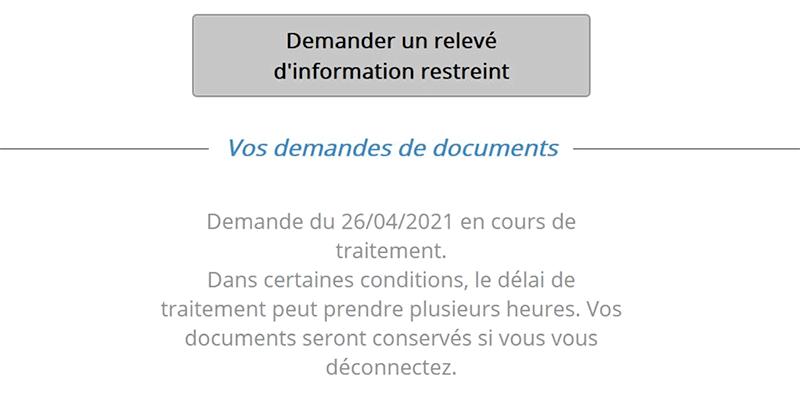 Message d'attente sur le site telepoint pour avoir son relevé d'information restreint