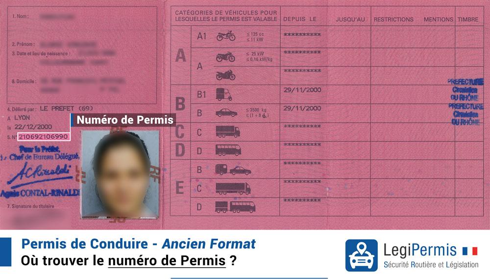 Trouver le numéro de permis sur le permis de conduire ancien format