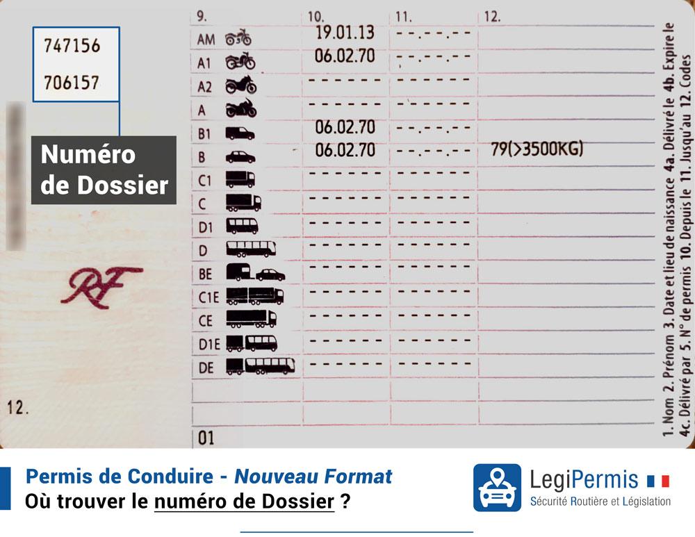 numéro de permis sur le nouveau permis de conduire