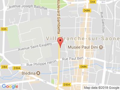 Plan Google Stage recuperation de points à Villefranche-sur-Saône proche de Belleville