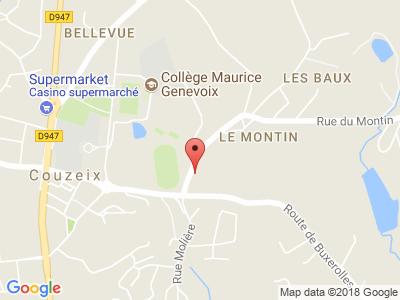 Plan Google Stage recuperation de points à Couzeix proche de La Souterraine