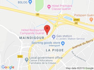 Plan Google Stage recuperation de points à Guéret proche de Aubusson