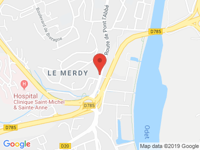 Plan Google Stage recuperation de points à Quimper proche de Douarnenez