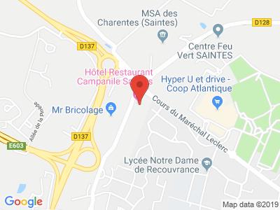 Plan Google Stage recuperation de points à Saintes proche de Saint-Jean-d'Angély