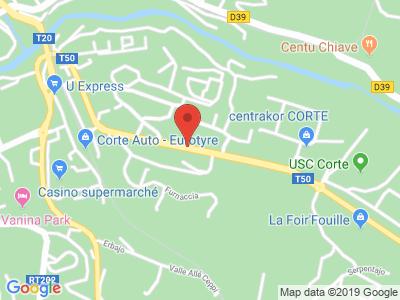 Plan Google Stage recuperation de points à Corte proche de Bastia
