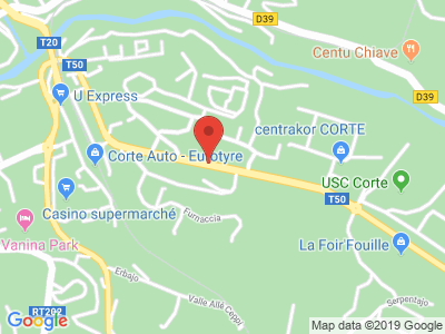 Plan Google Stage recuperation de points à Corte proche de Prunelli-di-Fiumorbo