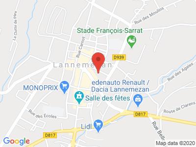Plan Google Stage recuperation de points à Lannemezan proche de Saint-Gaudens