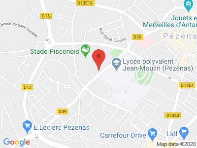 Plan Google Stage recuperation de points à Pézenas proche de Balaruc-le-Vieux