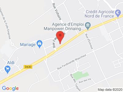 Plan Google Stage recuperation de points à Onnaing proche de Maubeuge