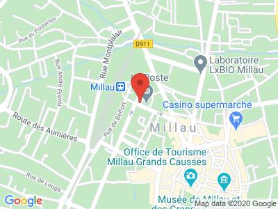 Plan Google Stage recuperation de points à Millau proche de Rodez