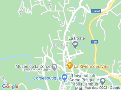 Plan Google Stage recuperation de points à Corte proche de Borgo