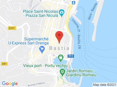 Plan Google Stage recuperation de points à Bastia proche de Borgo