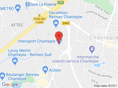 Plan Google Stage recuperation de points à Chantepie proche de Rennes