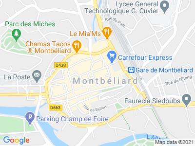 Plan Google Stage recuperation de points à Montbéliard proche de Sochaux