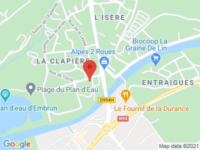 Plan Google Stage recuperation de points à Embrun proche de Digne-les-Bains