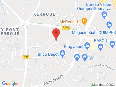 Plan Google Stage recuperation de points à Quimper proche de Ergué-Gabéric