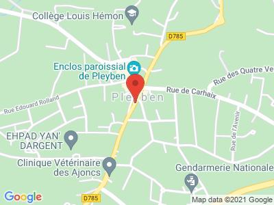 Plan Google Stage recuperation de points à Pleyben proche de Morlaix
