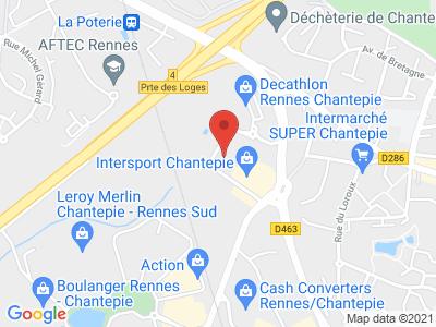 Plan Google Stage recuperation de points à Chantepie proche de Châteaubourg